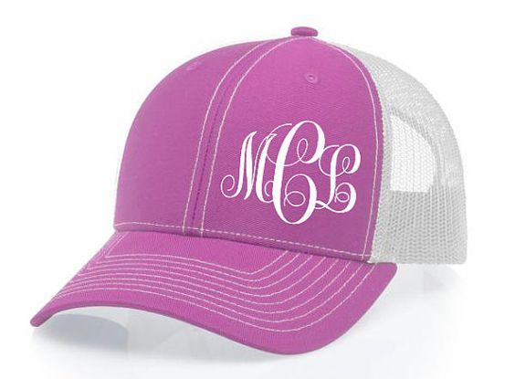 Pink Custom Monogram Snapback Hat Cap Ladies by DecalsThatDazzle