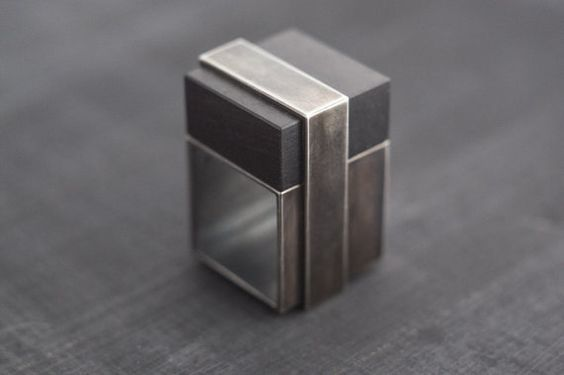 Black Oxidized Silver and Blackwood Block Style Square Ring  This unique ring is made from Sterling Silver with square block of Blackwood. Feels