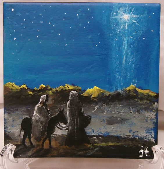 Commissioned 6 x 6 ceramic tile painting of mary and for Idea door journey to bethlehem