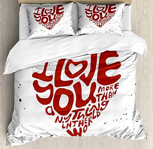 I Love You More Luxury Soft Brushed Microfiber Bedding Duvet Cover Set With Zipper Closure I Love You Mo Duvet Cover Sets Duvet Covers Queen Size Duvet Covers