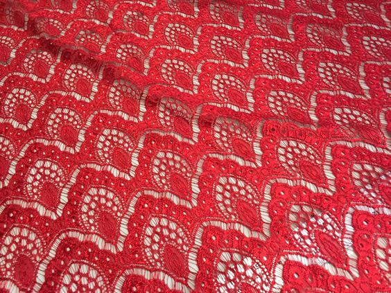 """Red Crochet Look Stretch Lace, 72"""" Wide, a Classic look, 4 1/2 yard piece by PromenadeFabrics on Etsy"""