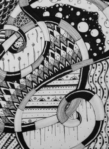 Zentangle Doodle With Snake Geometric and Organic Shapes and Patterns
