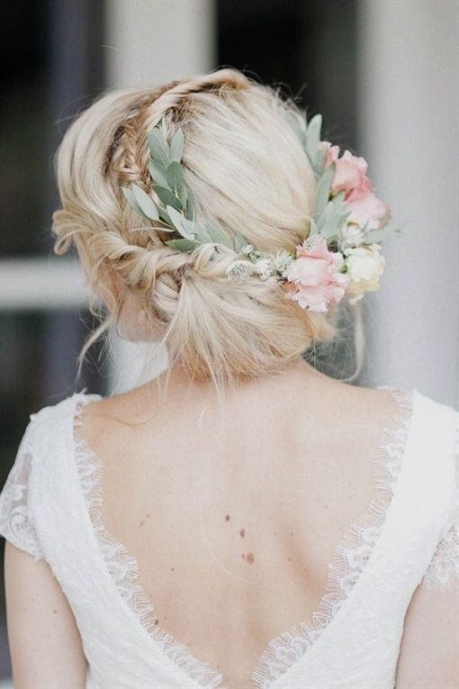 Bridal Hairstyle Loosely Updo With A Beautiful Flower Crown With Soft Blossoms In Pink Weddin Braided Hairstyles For Wedding Flowers In Hair Bride Hairstyles