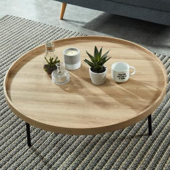 Moon Table Basse Ronde Style Industriel Decor Chene Et Pieds Metal Noir Laque O 90 Cm Table Basse Ronde Table Basse Table De Salon