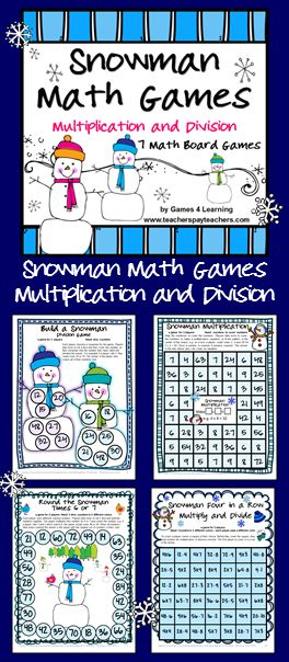 Snowman Math Games Multiplication and Division from Games 4 Learning is a collection of 7 Math Board Games with a snowman theme. $