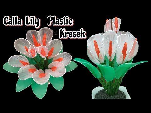 Kerajinan Bunga Calla Lily Dari Plastik Kresek Bekas Diy Cally Lily Flower Clear Plastic Bag Youtube Bunga Calla Lily Bunga Bunga Botol Plastik