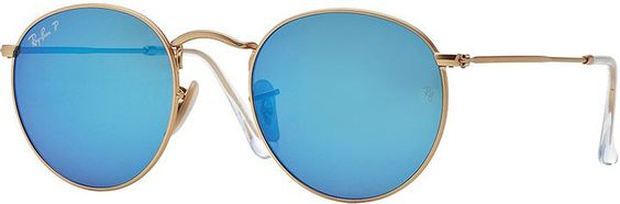 Pin for Later: These Are the Best Holiday Gifts For Every Zodiac Sign Taurus Ray-Ban Polarized Round Metal-Frame Sunglasses With Blue Mirror Lens  ($200)
