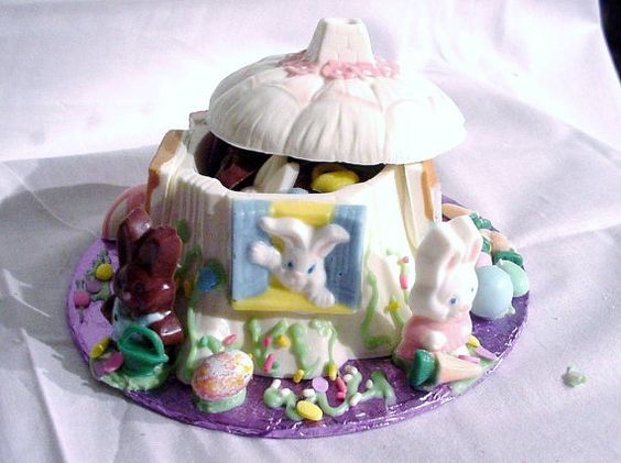 Chocolate Easter Bunny Stump  House by candycottage on Etsy, $18.95