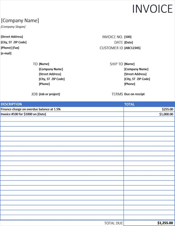 Sales And Marketing Excel - Invoice With Finance Charge - sales invoice