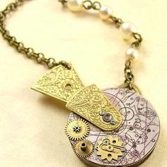 The Doctor's Displaced Time and Reality - Steampunk Necklace