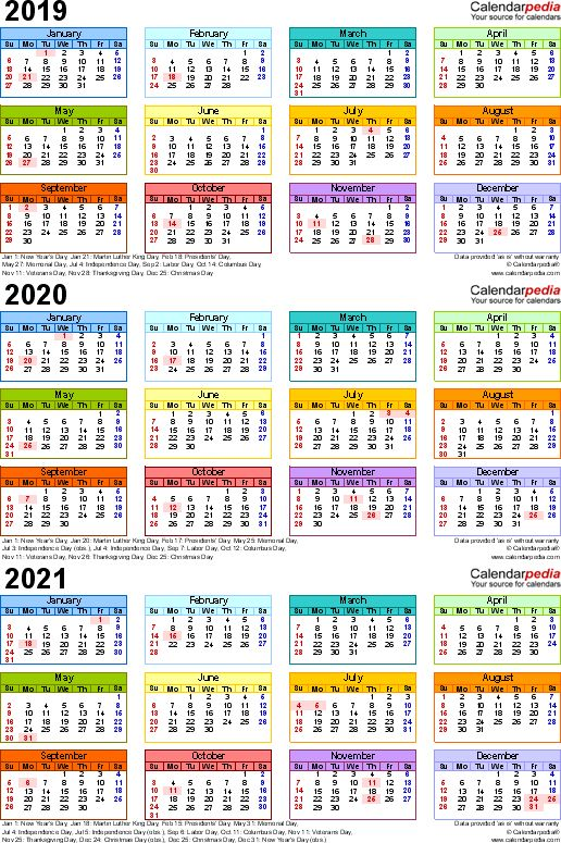 Template 3 Excel Template For Three Year Calendar 2019 2021 Portrait Orientation 1 Page In Editable Calendar Calendar Template Printable Calendar Template