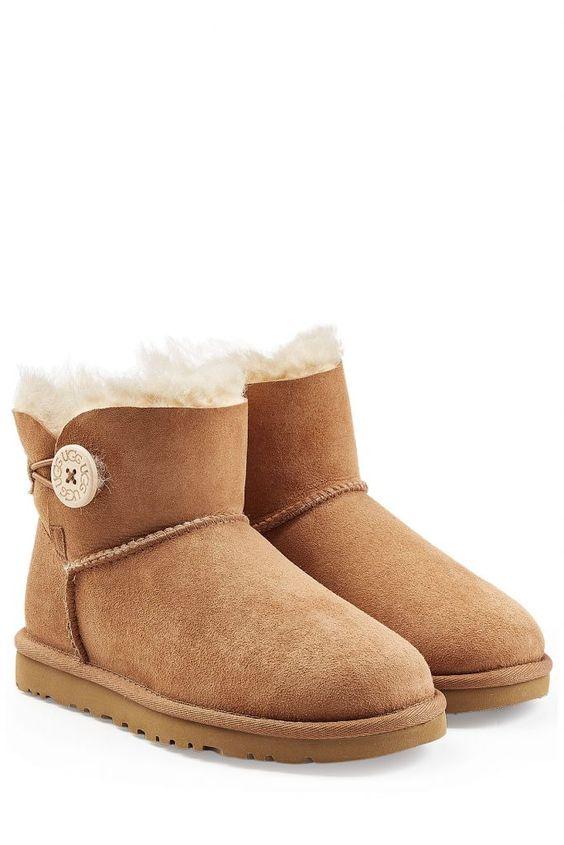 #UGG #Australia #Short #Boots #Bailey #Button aus #Schafleder #, #Braun für…