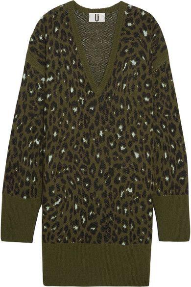TOPSHOP UNIQUE Exhall leopard-intarsia jacquard-knit sweater dress. #topshopunique #cloth #knitwear