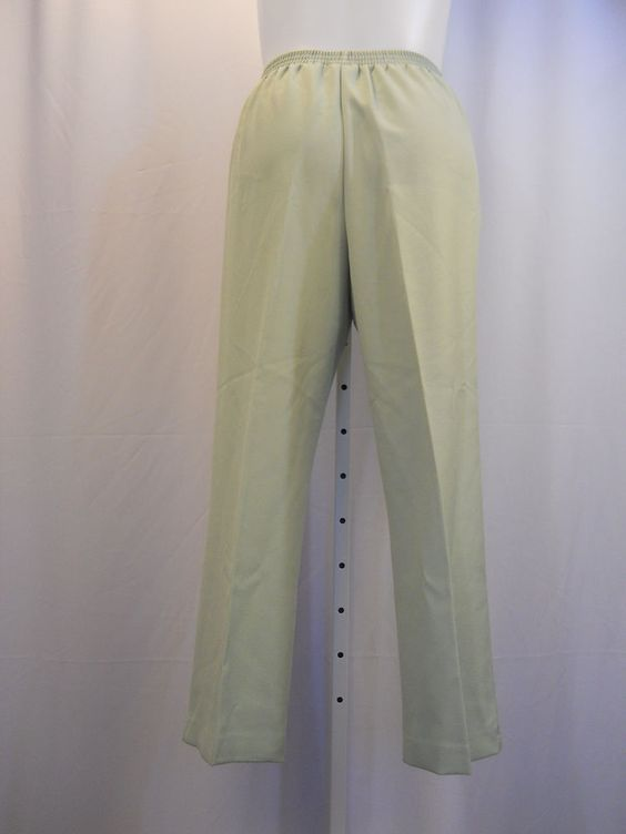 Alfred Dunner Size 16 Winter Palace Pants Solid Green Proportioned Short Women's #AlfredDunner #CasualPants