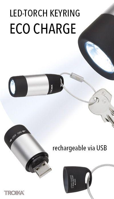 TROIKA ECO CHARGE. LED-torch and keyring, white light, rechargeable via USB *** LED-Taschenlampe und Schlüsselanhänger, weißes Licht, aufladbar über USB