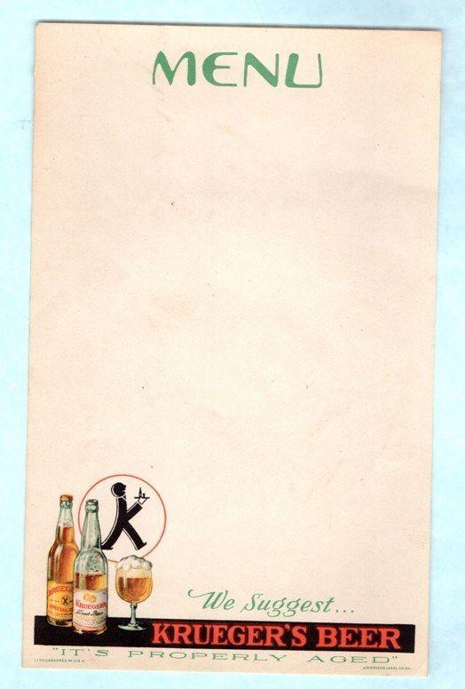 Vintage krueger\u0027s beer menu insert sheet Menu and Vintage