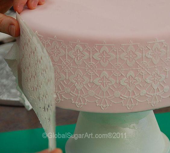 stenciled cake tutorial by Global Sugar Arts