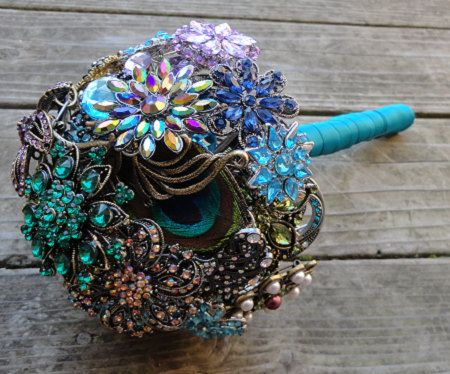 Peacock Wedding Brooch Bouquet with real feathers - READY TO SHIP. $450.00, via Etsy.