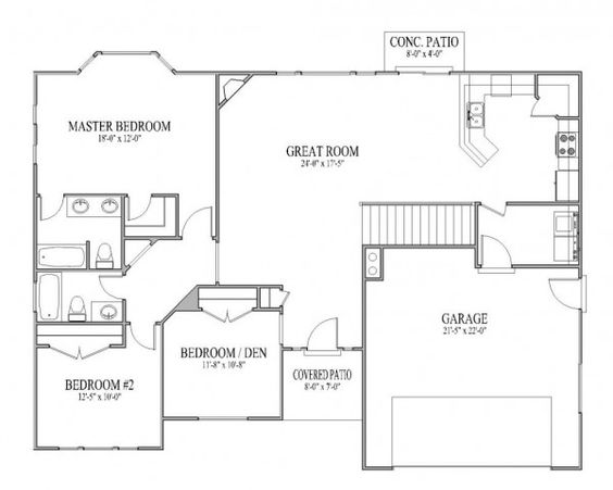 Open floor plan homes layout love the large open for Perfect kitchen floor plan