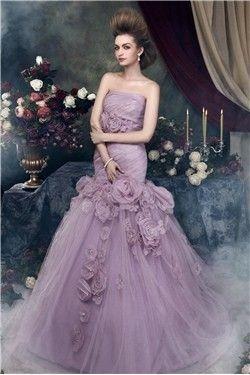2013 Lilla Elegante Abendkleider aus Tüll und Stretchsatin mit Blume mit Schleppe