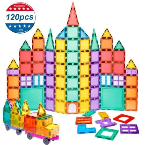 Magnet Building Tiles Kids Toys 120 Pcs Blocks 3d Magnetic Set With 2 Educational Toys For Kids Kids Magnets Magnetic Building Tiles