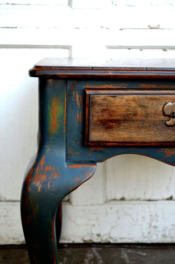 Rustic shabby chic blue and antique green by BlackSheepMill, $95.00