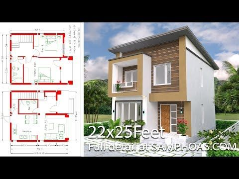 House Plan 6 5x7 5m With 2 Bedrooms A2 The House Has Small Garden Hall Living Room Dining Room Kit Small House Design House Plans Simple House Plans