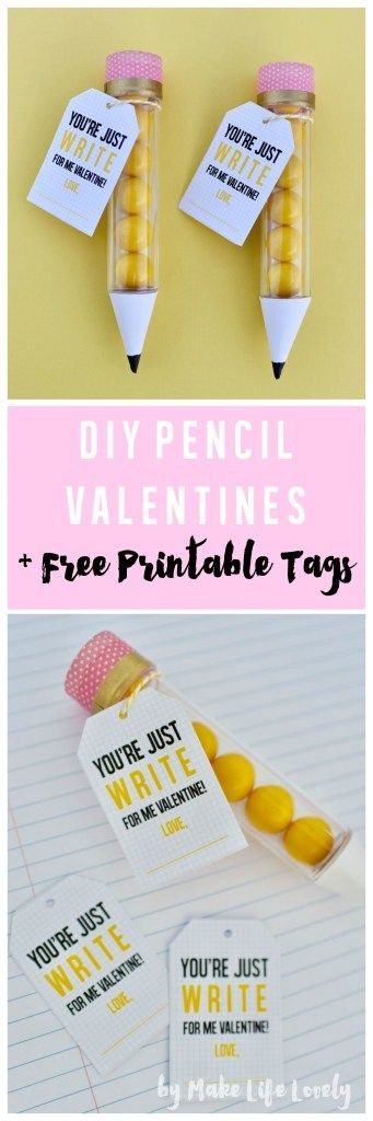 DIY pencil valentines + FREE printable tags.  So easy to make for Valentines Day!