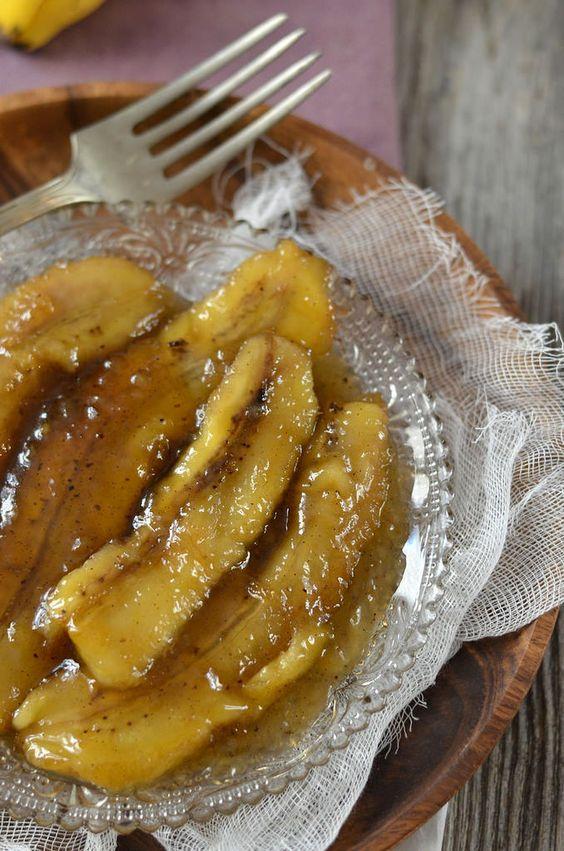 Banane flambée au rhum brun