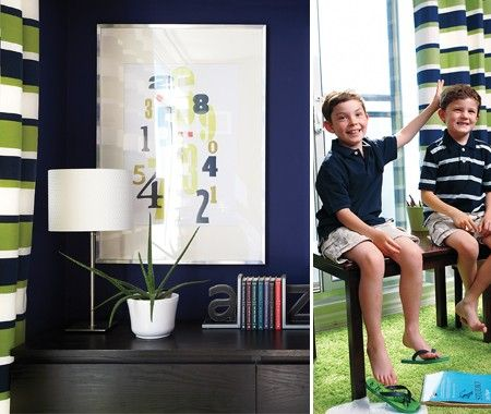 Preppy navy and green kids room