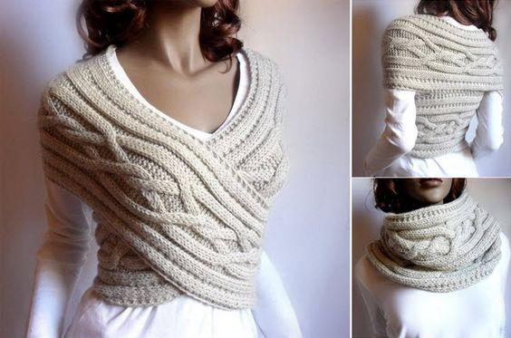 Que pensez-vous de cette écharpe/gilet? Très original! Découvrez en vidéo toutes les écharpes pour en faire une ;)