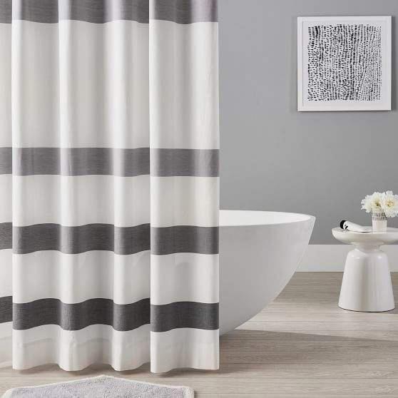 Organic Huntington Stripe Shower Curtain White Bathroom Shower