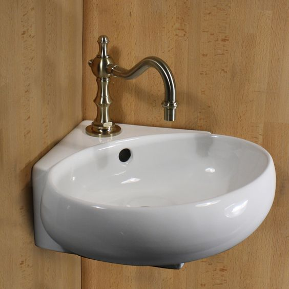 Vitreous China 13-inch Oval Corner Wallmount Vessel Vanity Sink - Overstock™ Shopping - Great Deals on HIGHPOINT COLLECTION Bathroom Sinks