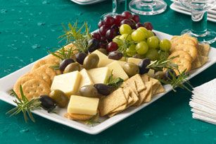 fresh herbs, olives, replace cheap crackers for water crackers and crustini