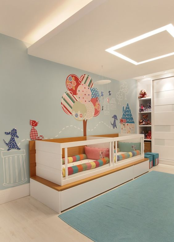 Nursery for twins! This could be a baby boy and baby girls room. Interesting! Love the crib idea, gives twins their own space but they are still close!