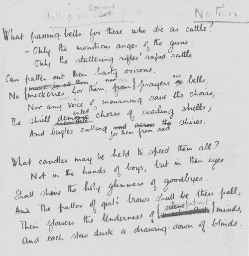 poetry analysis of anthem for doomed youth The title, which was apparently suggested by sassoon, sets up the religious theme with the term 'anthem', which suggests church music the theme continues with references to 'passing-bells', 'choirs', 'orisons' 'candles' and 'palls', which are all violently juxtaposed with the terminology of war: this happens most strikingly in.