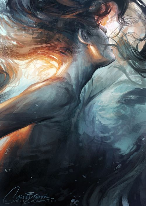 """charliebowater: """" Submerge. The fight to keep your head above water can be a tough one sometimes. Photoshop CS6, Wacom Intuos 5 and an hour or two of messy sketching. """""""