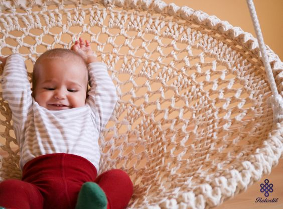 Mandala Crochet Swing - Handmade Recycled White Crochet Chair Shabby Chic Home Decor Kids Room Furniture (No. 11.) (320.00 USD) by retextil