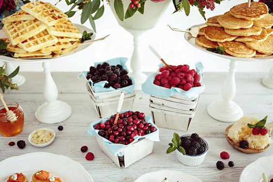 Set up this pancake and waffle bar for brunch the day after your wedding.