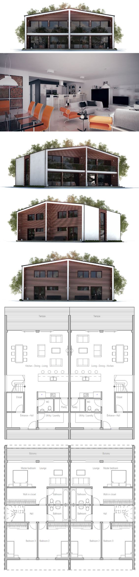 Duplex house house plans and duplex house plans on pinterest Narrow lot duplex