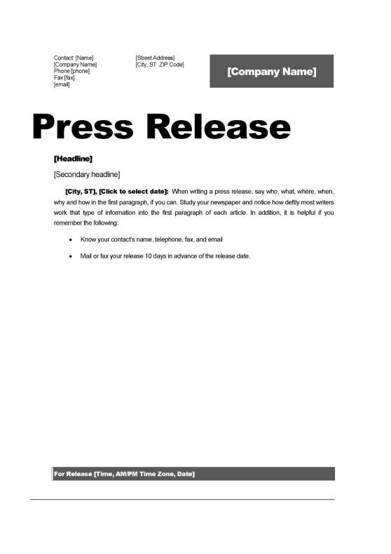 Press Release Format Template Comfortable Top 5 Resources To Get