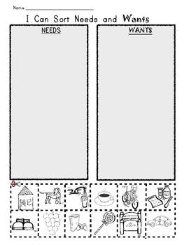 Printables Needs And Wants Worksheet i can sort needs and wants picture worksheet sorting helping kids identify them use kindergarden geography strand under human systems humans depend on an impact the physical