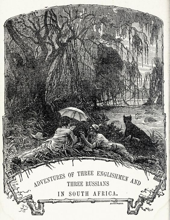 Jules Férat, frontispiece from Meridiana: The adventures of three Englishmen and three Russians in South Africa, by Jules Verne, New York, 1874.