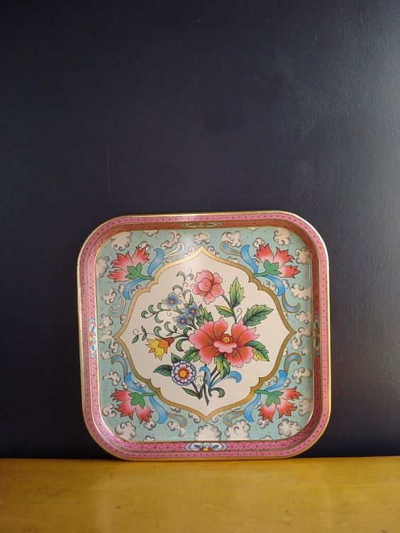 Flowers All Over II  Vintage Metal Tray  Daher by HappyGoVintage, $24.00