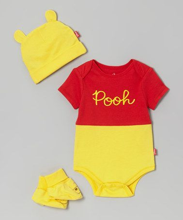 Take a look at this Yellow & Red Winnie the Pooh Bodysuit Set - Infant by Disney on #zulily today!