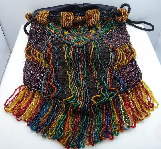 Victorian Colorful Multicolor Glass Beaded Drawstring Fringed Purse