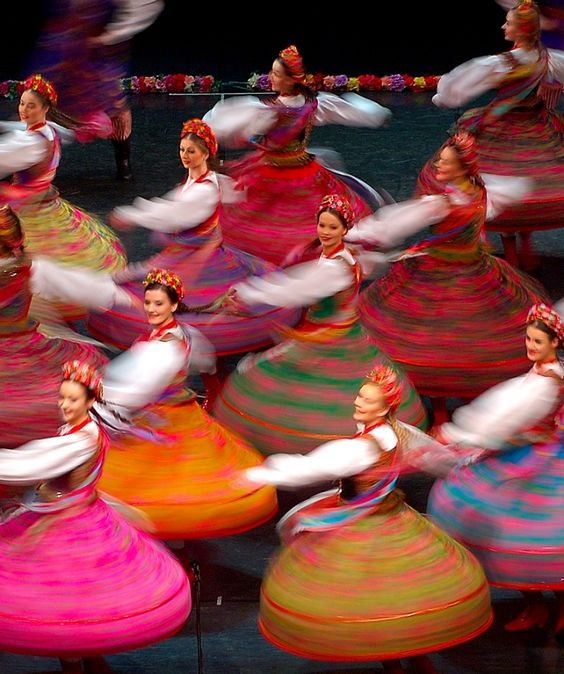 """Polish Dancers (""""Mazowsze"""") wearing Folk costumes, Kraków, Poland."""
