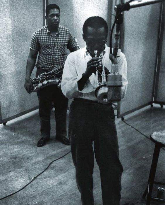 John Coltrane with Miles Davis, Columbia Recording Studios, New York, NY 1958 by Aram Avakian