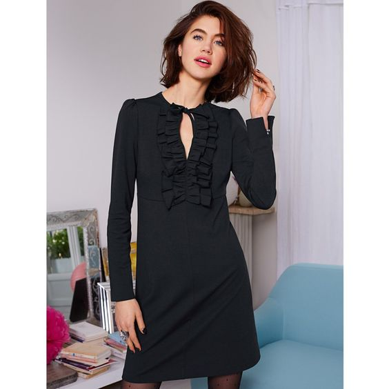 Vestido mangas compridas, com folho, em malha milano Mademoiselle R | La Redoute
