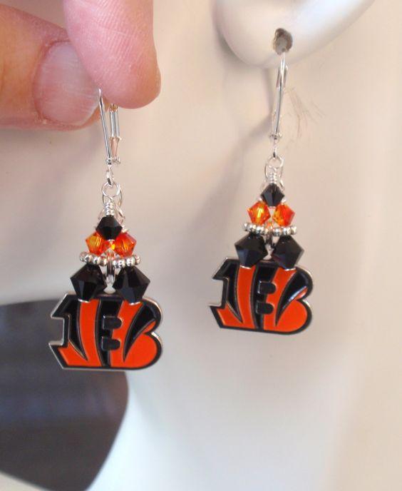 Cincinnati Bengals Earrings, Bengals Bling, Orange and Black Crystal Earrings…